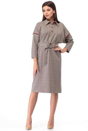 Платье Anelli 633 серо-красные тона