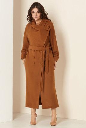 Пальто Andrea Style 00273 коричневые тона
