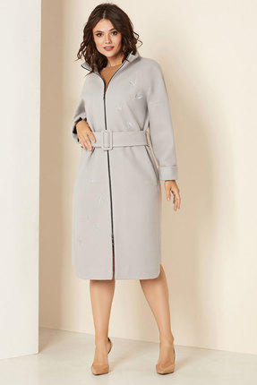 Пальто Andrea Style 00274 серо-голубой