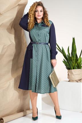 Платье Лилиана 847 синий с бирюзой