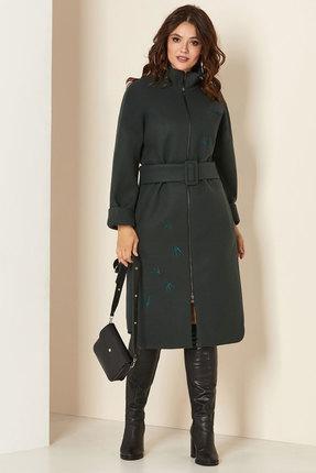 Пальто Andrea Style 00274 темно-зелёные тона