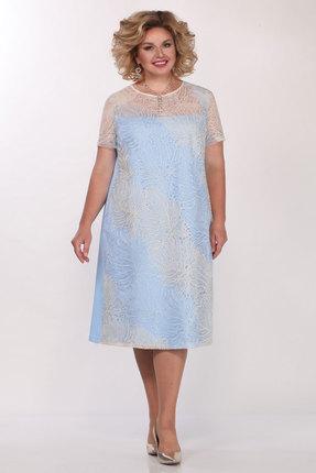 Платье Matini 31426 голубой с молочным