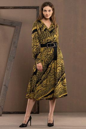 Платье Deesses 1032/4 черный с горчицей