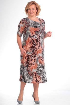 Платье Algranda 3296-т терракот с серым