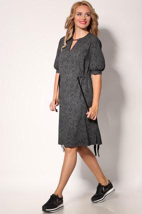 Платье Angelina & Co 405 графит с черным рисунком