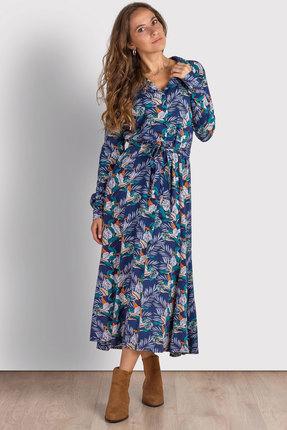 Платье Mirolia 785 синий с цветами