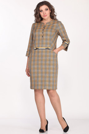 Платье Lady Style Classic 1919 горчичный в клетку