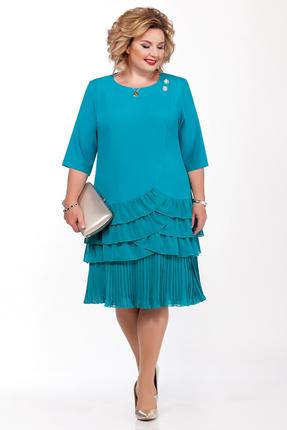 Платье Pretty 1134 бирюзовые тона