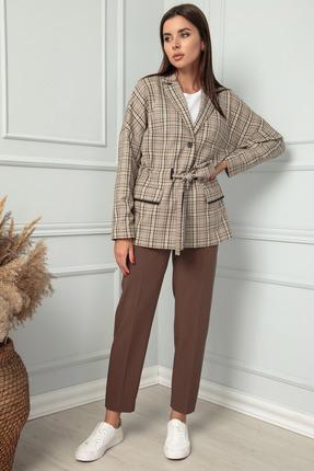 Жакет SandyNa 13832 серо-коричневый