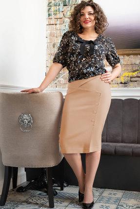 Комплект юбочный Erika Style 1018-2 черный с бежевым
