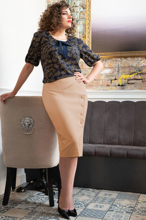 Комплект юбочный Erika Style 1018-3 синий с бежевым