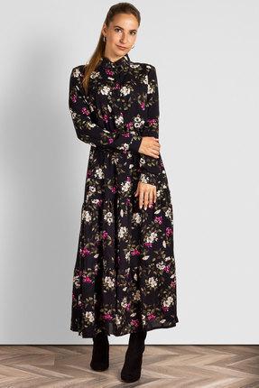 Платье Mirolia 807 цветочный принт на чёрном