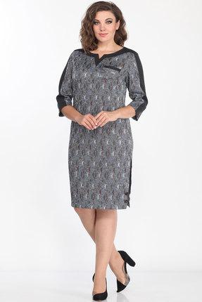 Платье Lady Style Classic 1123/5 серые тона с черным