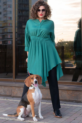 Комплект брючный Erika Style 1067 зеленый с черным