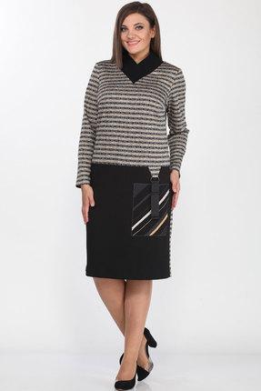 Платье Lady Style Classic 2117 черный с серым