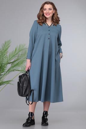 Платье Denissa Fashion 1330 синие тона