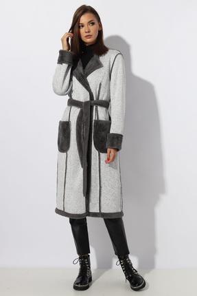 Пальто Миа Мода 1087-1 бело-серый