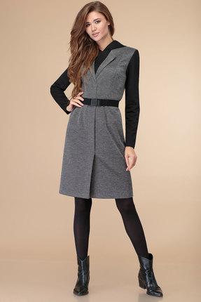 Платье Линия-Л Б-1832 черный с серым