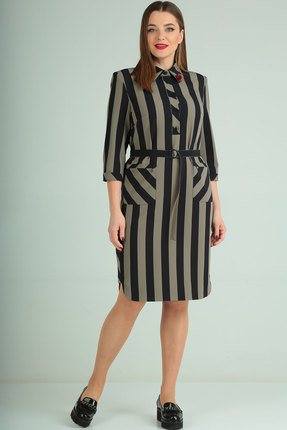 Платье Ришелье 826 чёрный+серый
