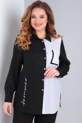 Блузка Ксения Стиль 1833 черный с белым