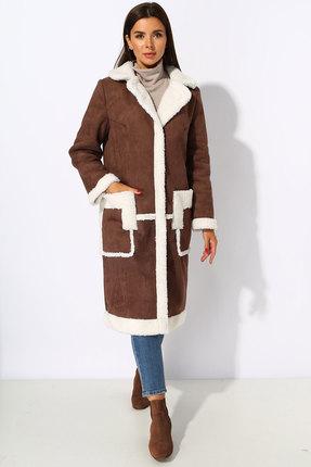Пальто Миа Мода 1069-1 коричневые тона