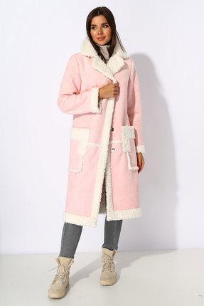 Пальто Миа Мода 1069-2 розовые тона