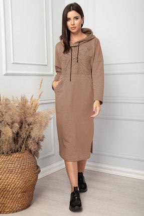 Платье SandyNa 13848 серо-коричневый