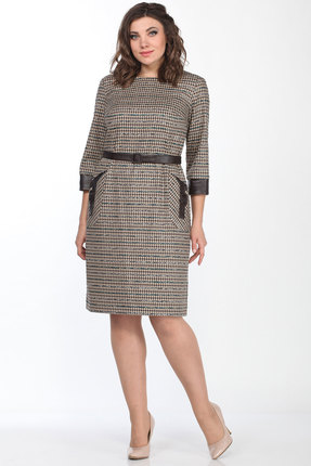 Платье Lady Style Classic 2198/1 бежевый с серым