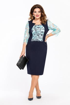 Платье TEZA 234 синий с бирюзовым