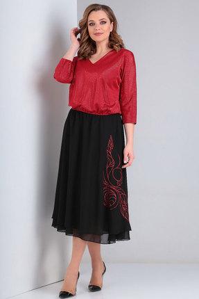 Платье Ксения Стиль 1835 красный с черным