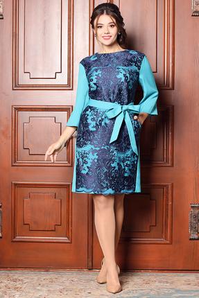Платье Мода-Юрс 2529 бирюза+синий