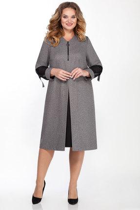 Платье Emilia Style 2026 серый с черным
