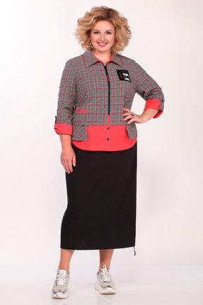 Платье Matini 31396 серо-красный с черным