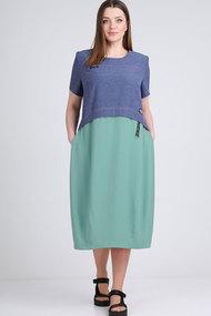 Платье Elga 01-701.1 синий+бирюза