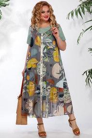 Платье БагираАнТа 709 серый с цветным