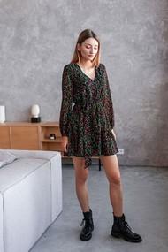 Платье Danaida 224-21 черный в разноцветные цветы