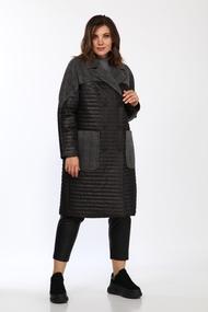 Пальто Lady Style Classic 2327 Черный с серым