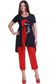 Комплект с капри Andrea Style 1111 синий с красным
