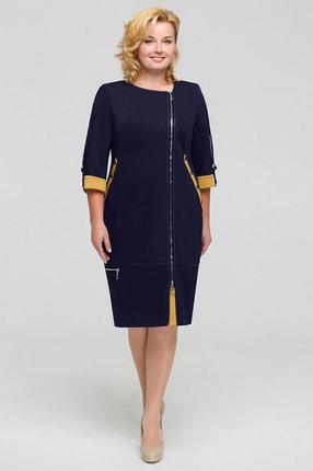 Платье Теллура-Л 1201 темно-синий+горчица фото