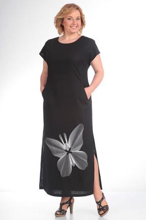 Платье Диамант 1090 черный с белым