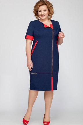 Платье Теллура-Л 1201.1 синий с красным фото